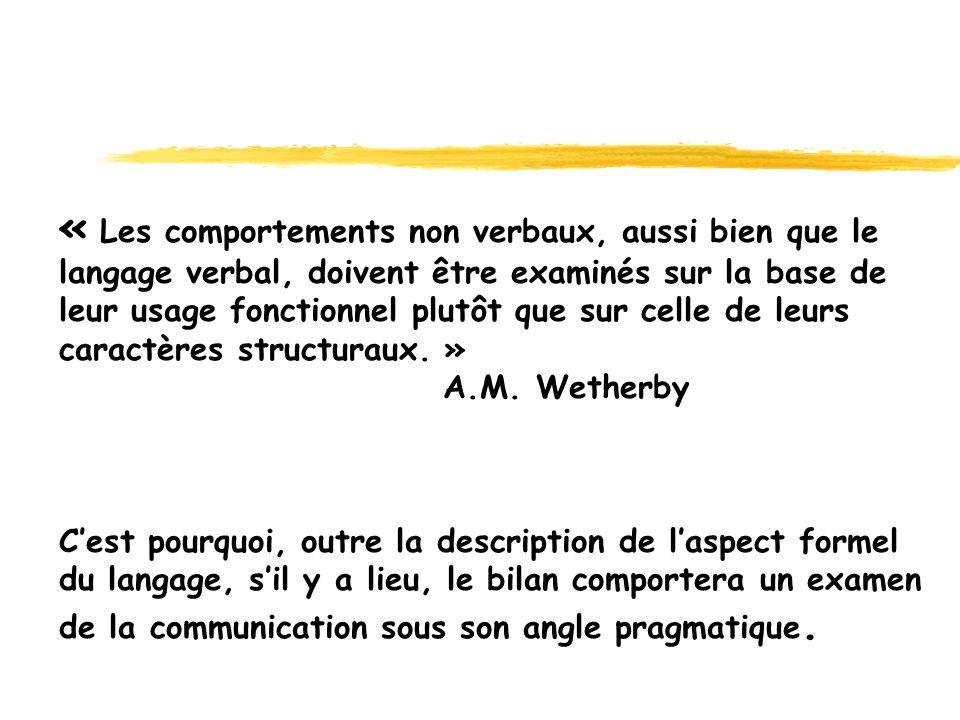 « Les comportements non verbaux, aussi bien que le langage verbal, doivent être examinés sur la base de leur usage fonctionnel plutôt que sur celle de leurs caractères structuraux. » A.M.
