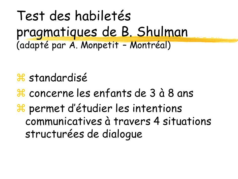Test des habiletés pragmatiques de B. Shulman (adapté par A