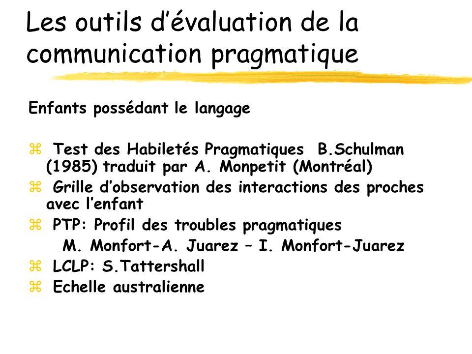 Les outils d'évaluation de la communication pragmatique