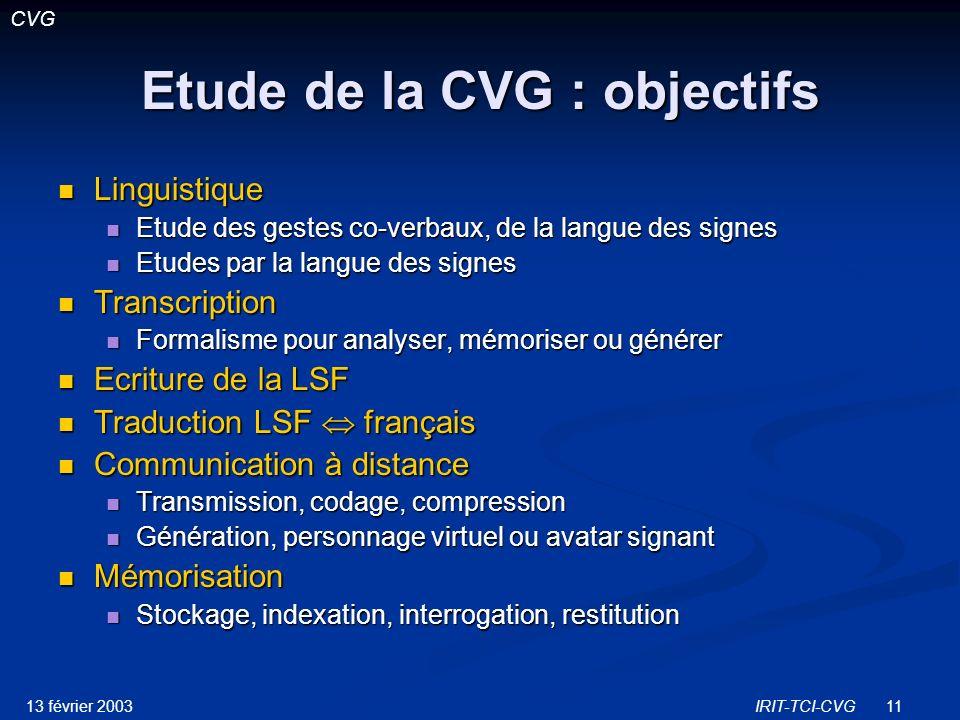 Etude de la CVG : objectifs