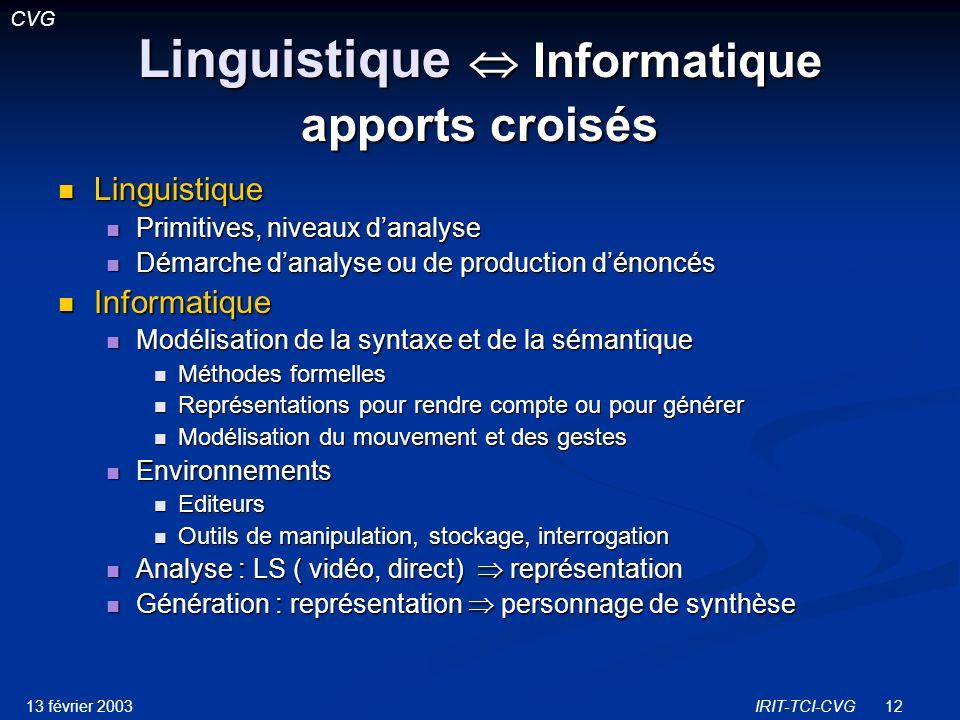 Linguistique  Informatique apports croisés