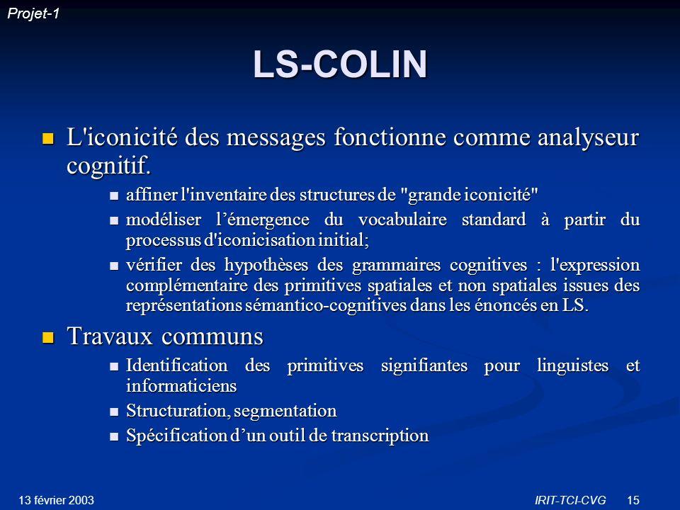 LS-COLIN L iconicité des messages fonctionne comme analyseur cognitif.