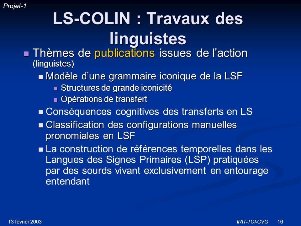 LS-COLIN : Travaux des linguistes