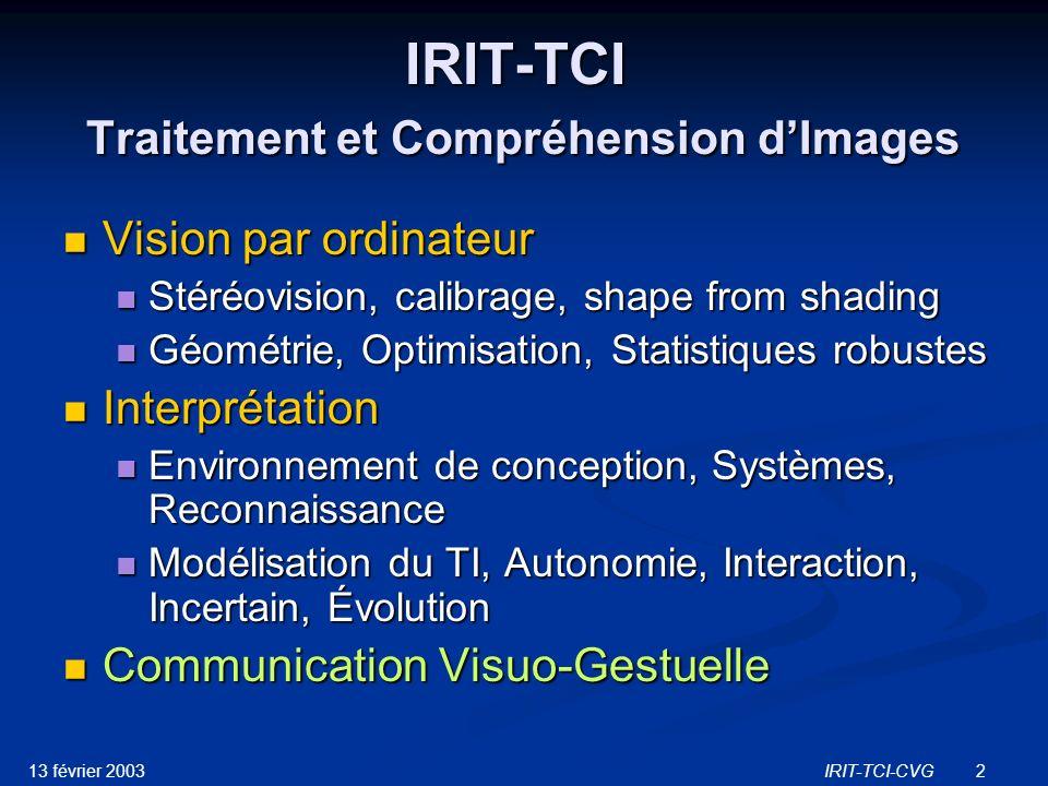 IRIT-TCI Traitement et Compréhension d'Images