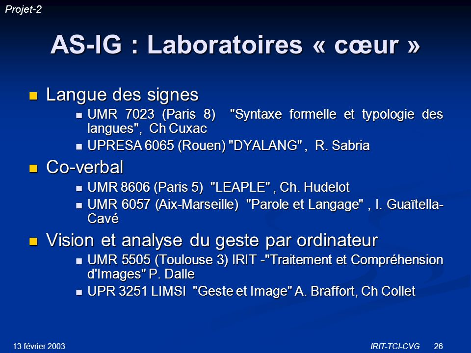 AS-IG : Laboratoires « cœur »