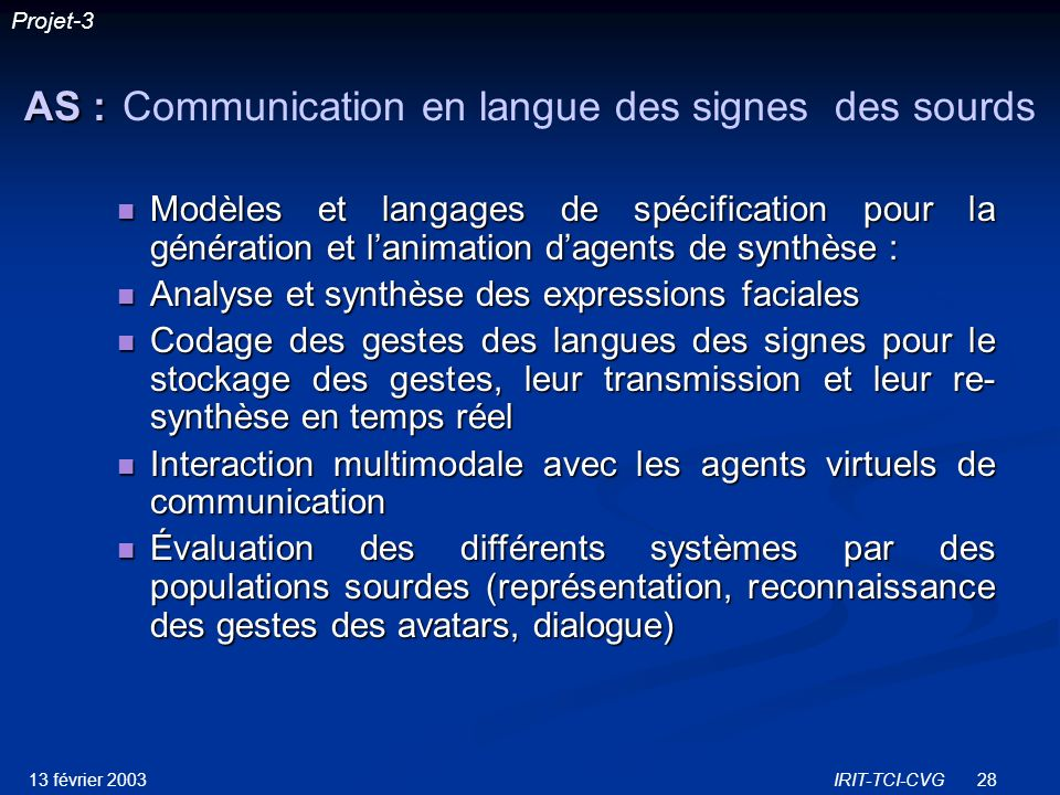 AS : Communication en langue des signes des sourds