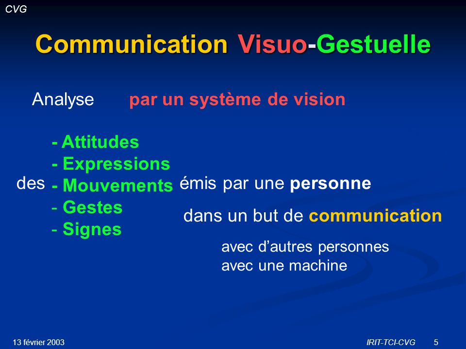 Communication Visuo-Gestuelle