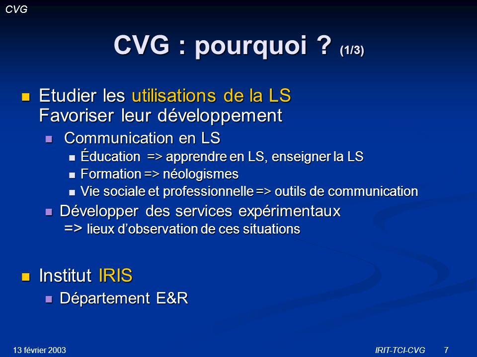 CVG CVG : pourquoi (1/3) Etudier les utilisations de la LS Favoriser leur développement. Communication en LS.