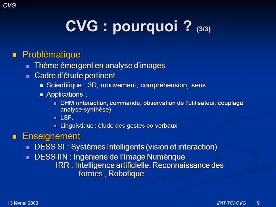 CVG : pourquoi (3/3) Problématique Enseignement