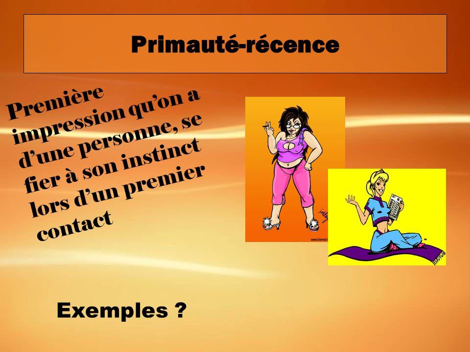 Primauté-récence Première impression qu'on a d'une personne, se fier à son instinct lors d'un premier contact.
