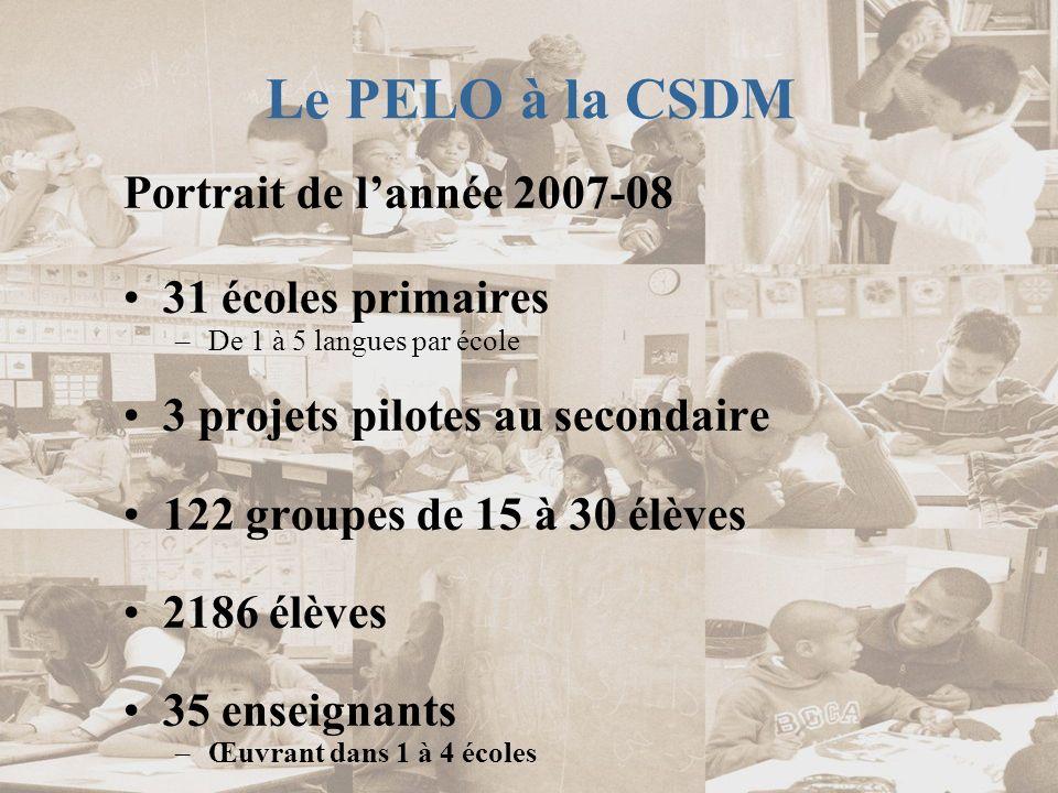 Le PELO à la CSDM Portrait de l'année 2007-08 31 écoles primaires