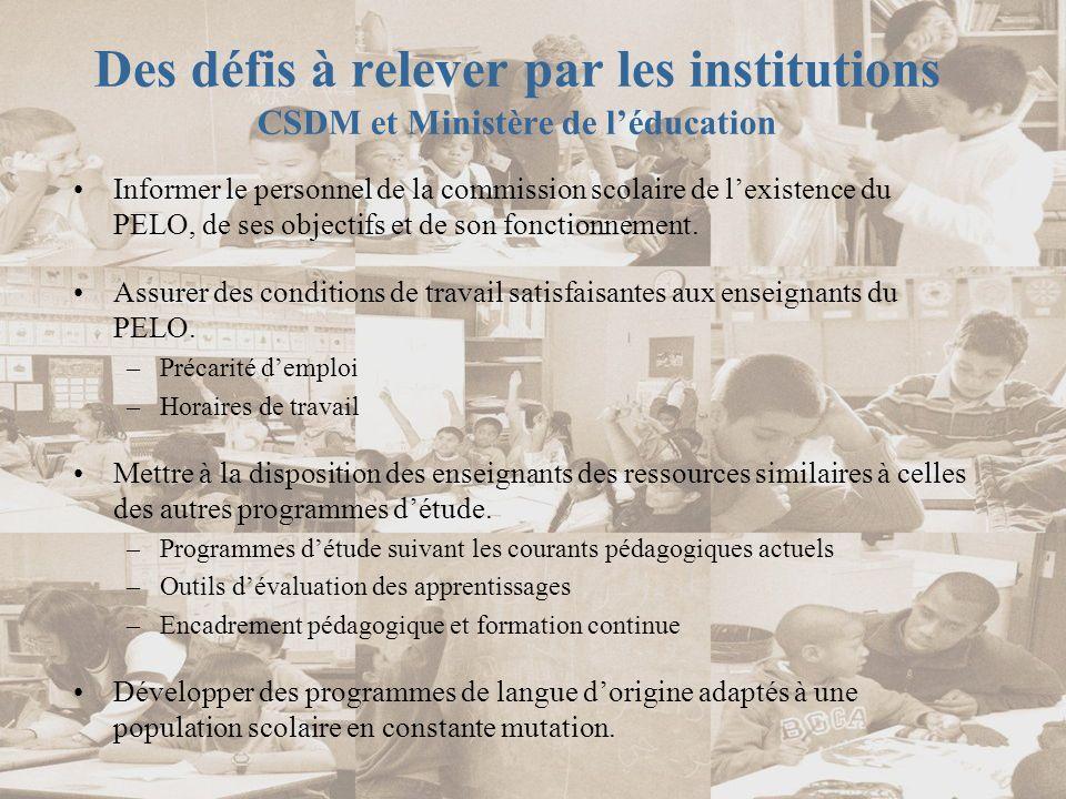 Des défis à relever par les institutions CSDM et Ministère de l'éducation