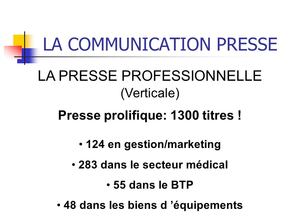 LA COMMUNICATION PRESSE
