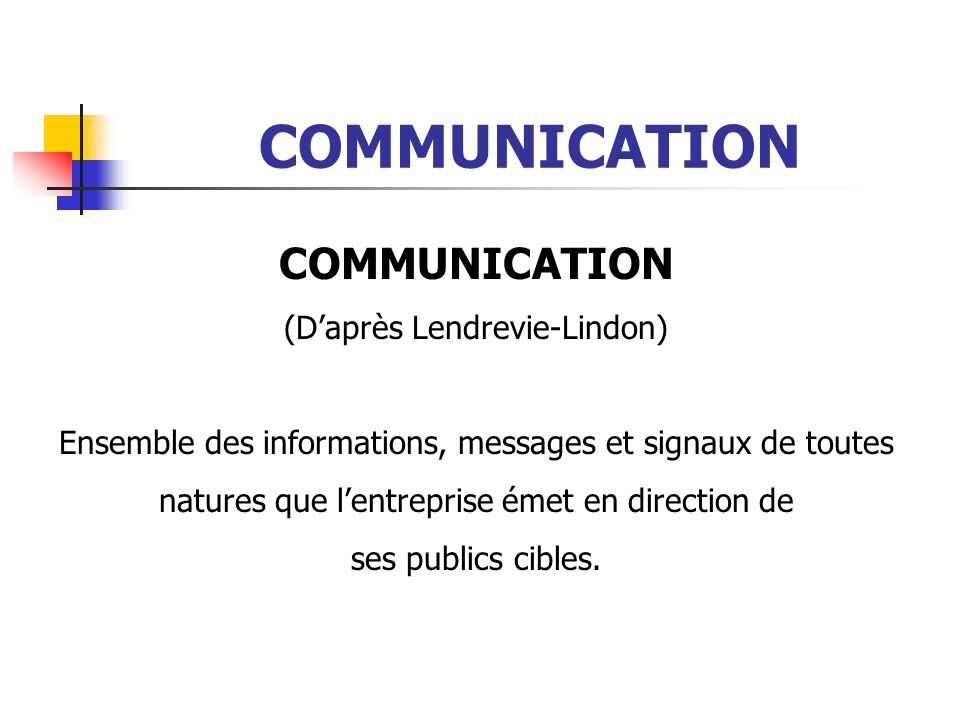 COMMUNICATION COMMUNICATION (D'après Lendrevie-Lindon)