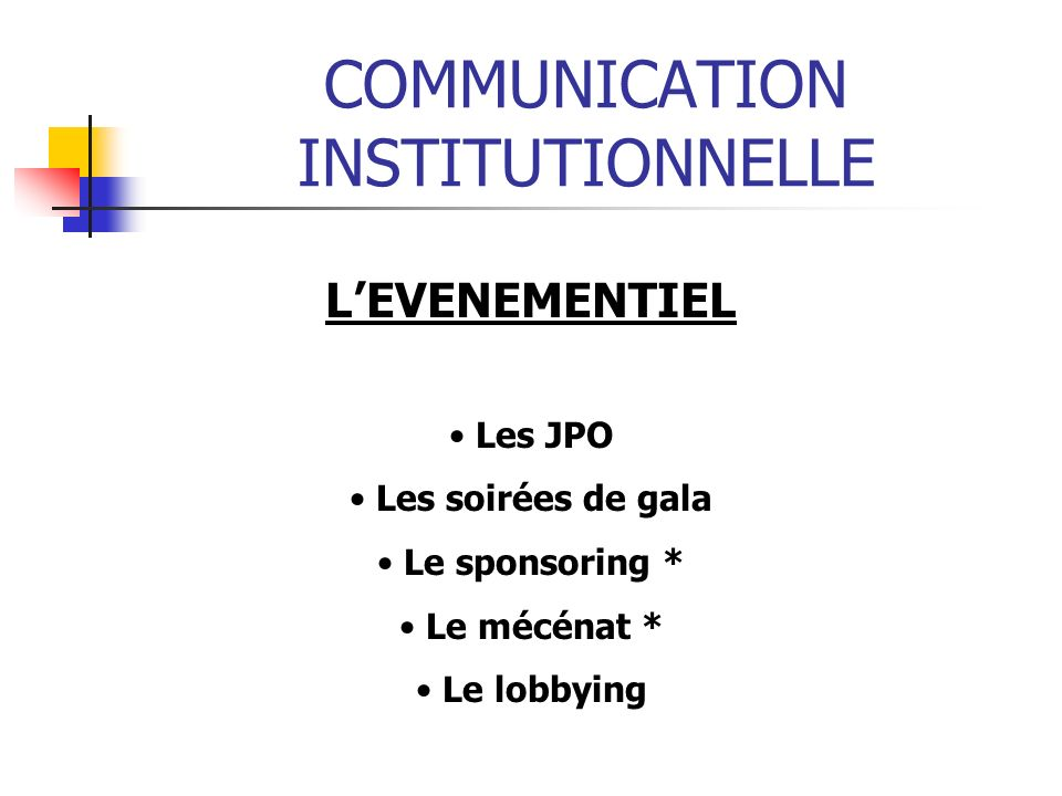 COMMUNICATION INSTITUTIONNELLE