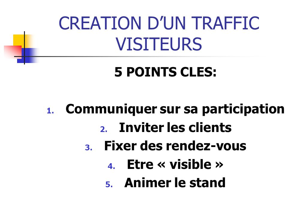 CREATION D'UN TRAFFIC VISITEURS