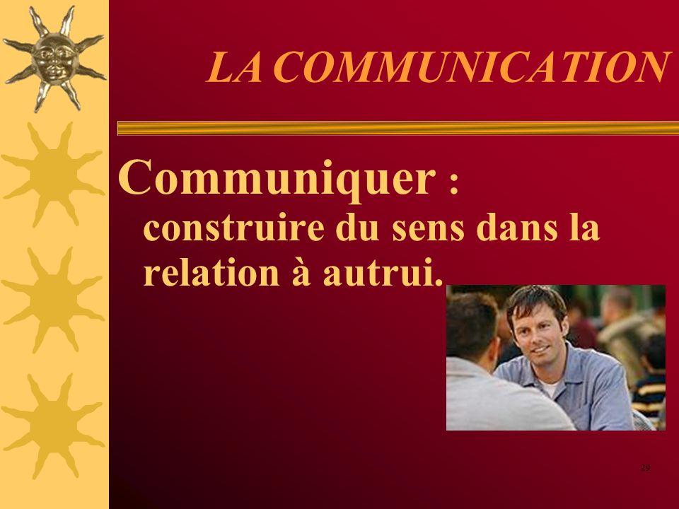 Communiquer : construire du sens dans la relation à autrui.