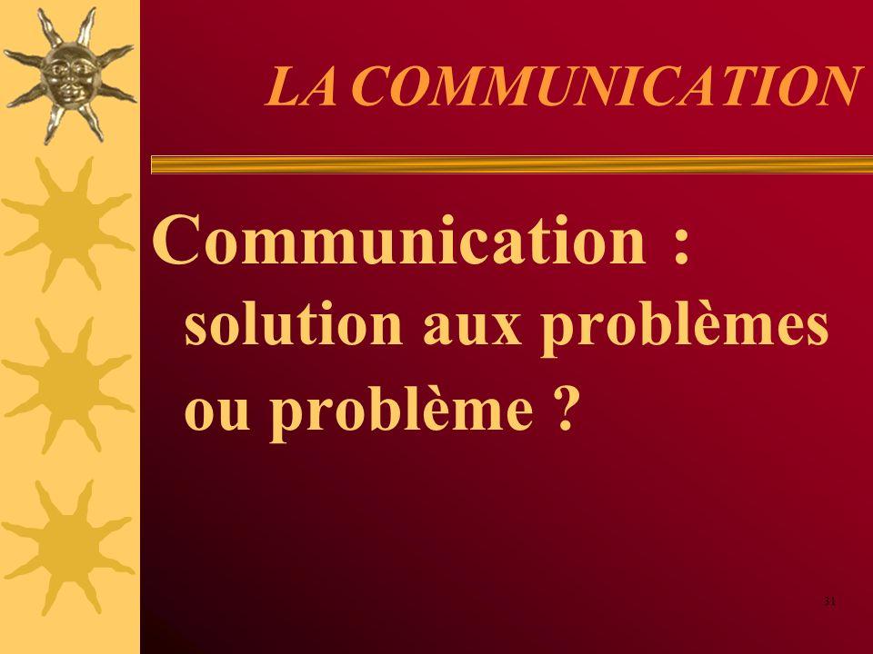 Communication : solution aux problèmes ou problème