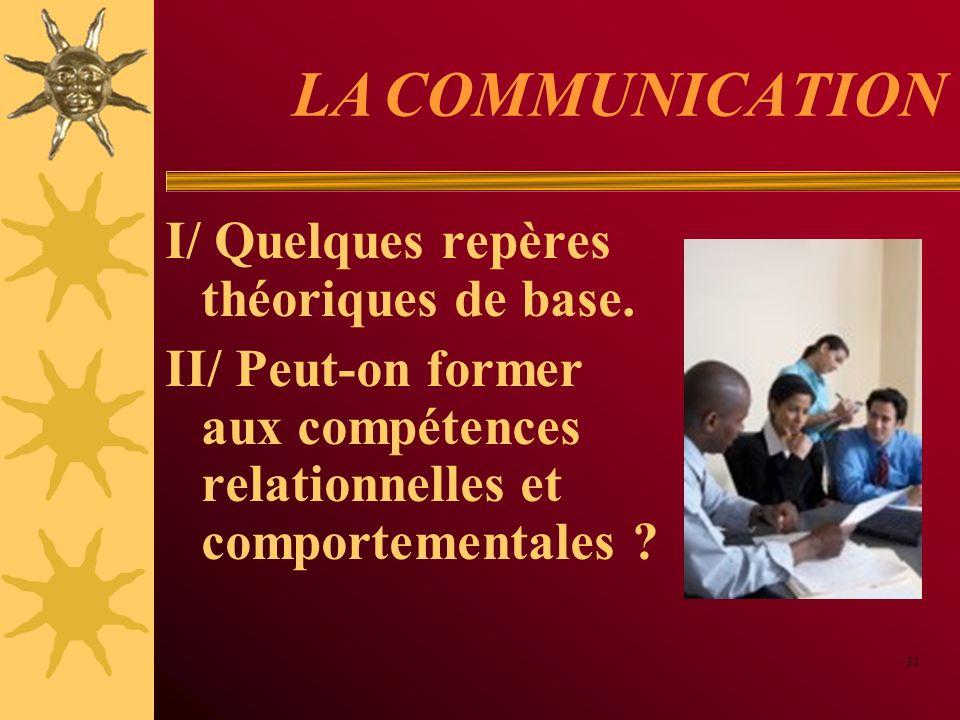 LA COMMUNICATION I/ Quelques repères théoriques de base.