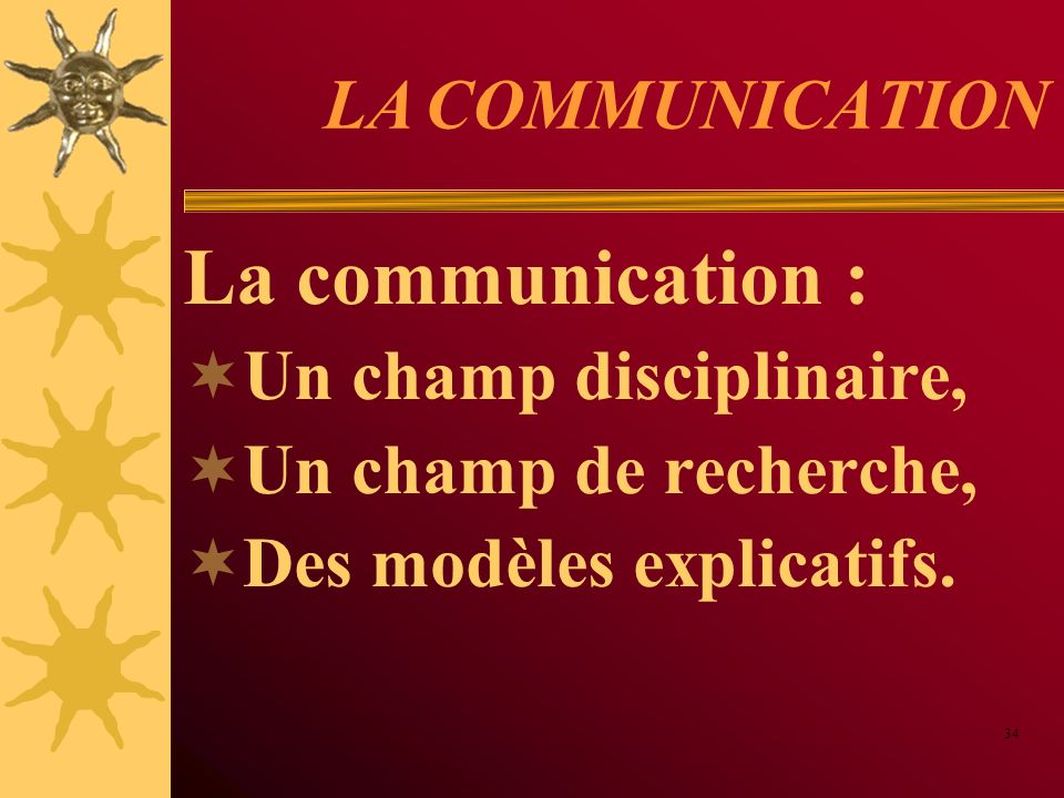 La communication : LA COMMUNICATION Un champ disciplinaire,