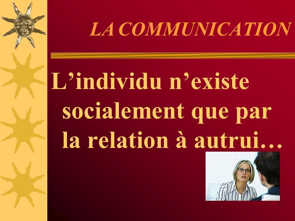 L'individu n'existe socialement que par la relation à autrui…