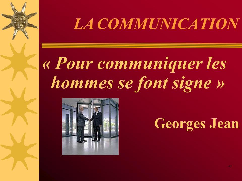 « Pour communiquer les hommes se font signe »