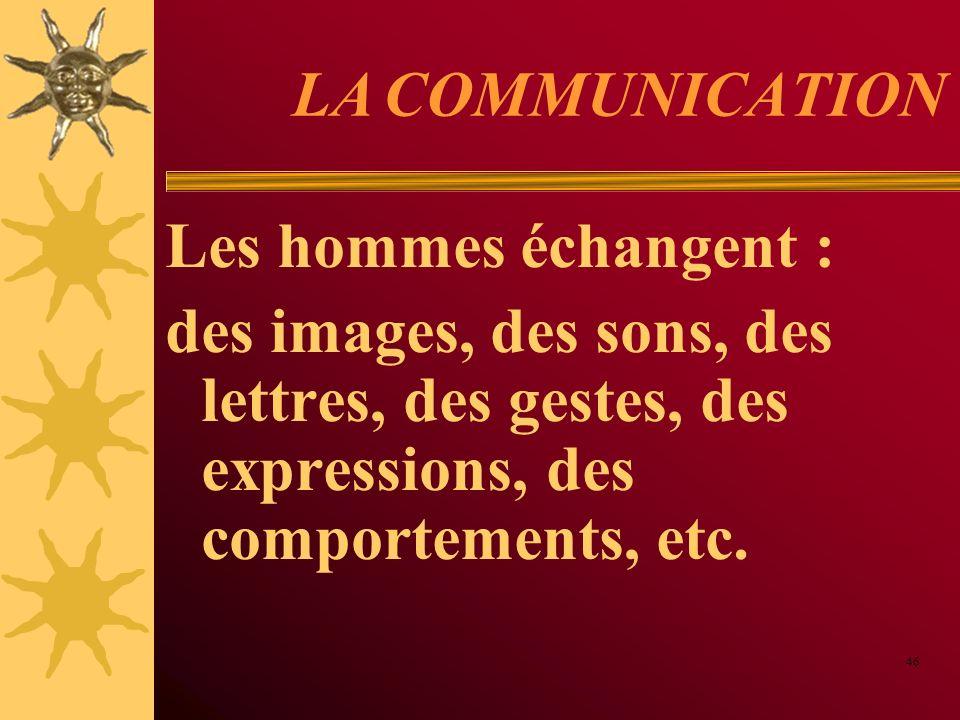 LA COMMUNICATION Les hommes échangent :