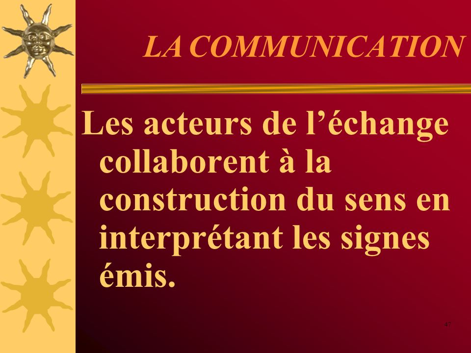 LA COMMUNICATION Les acteurs de l'échange collaborent à la construction du sens en interprétant les signes émis.