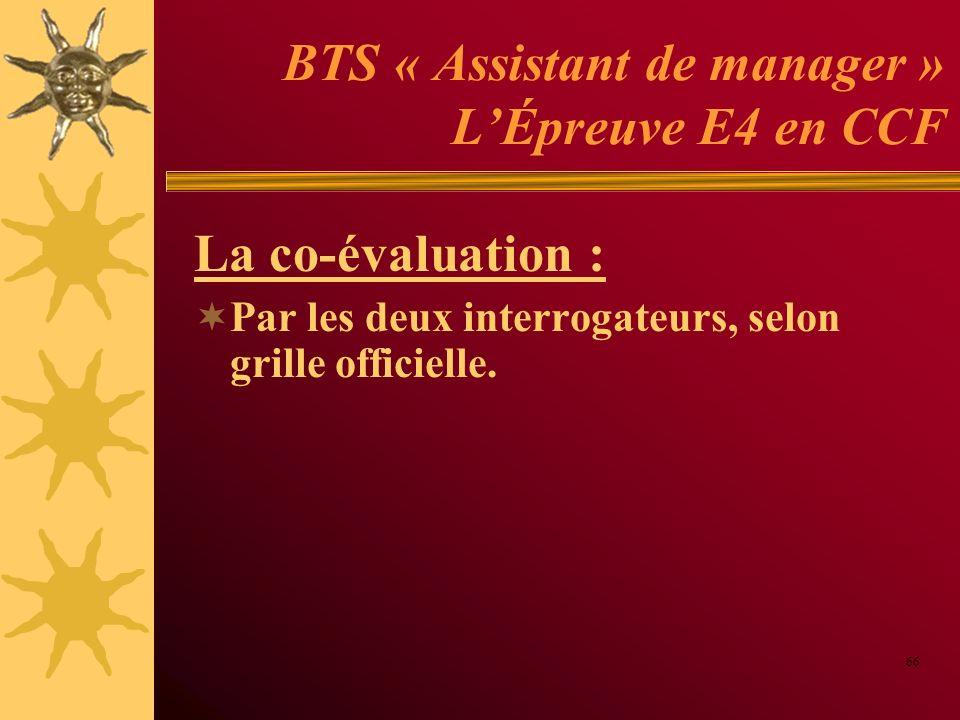 BTS « Assistant de manager » L'Épreuve E4 en CCF