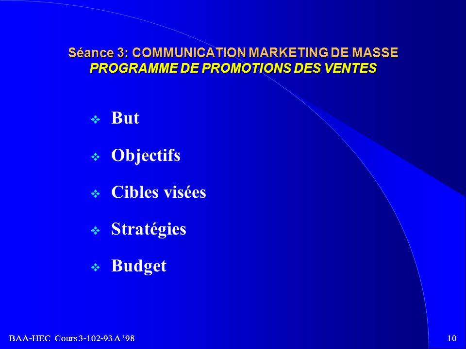 But Objectifs Cibles visées Stratégies Budget