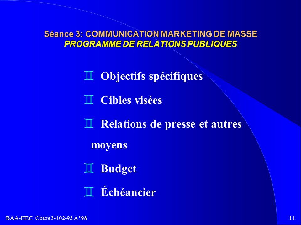 Objectifs spécifiques Cibles visées