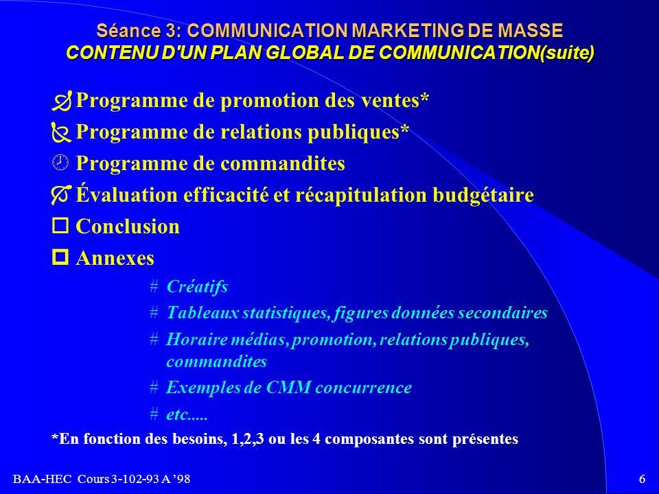 Programme de promotion des ventes* Programme de relations publiques*