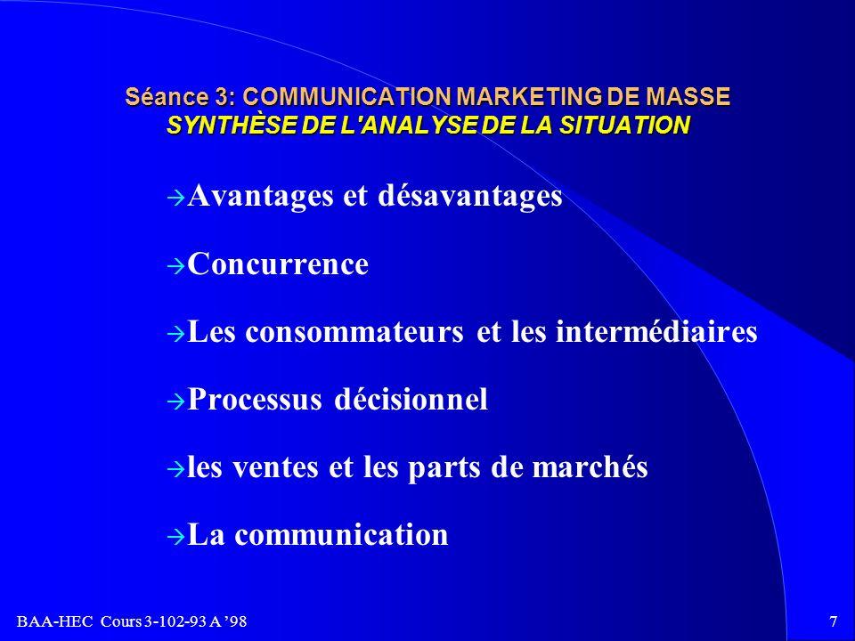 Avantages et désavantages Concurrence