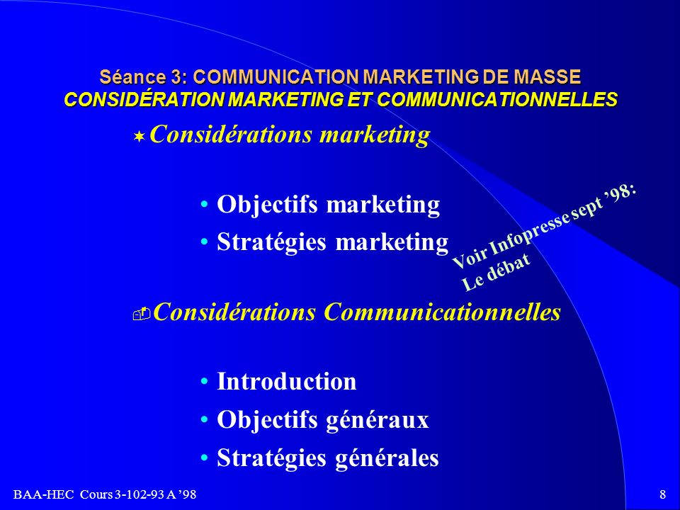 Considérations marketing Objectifs marketing Stratégies marketing