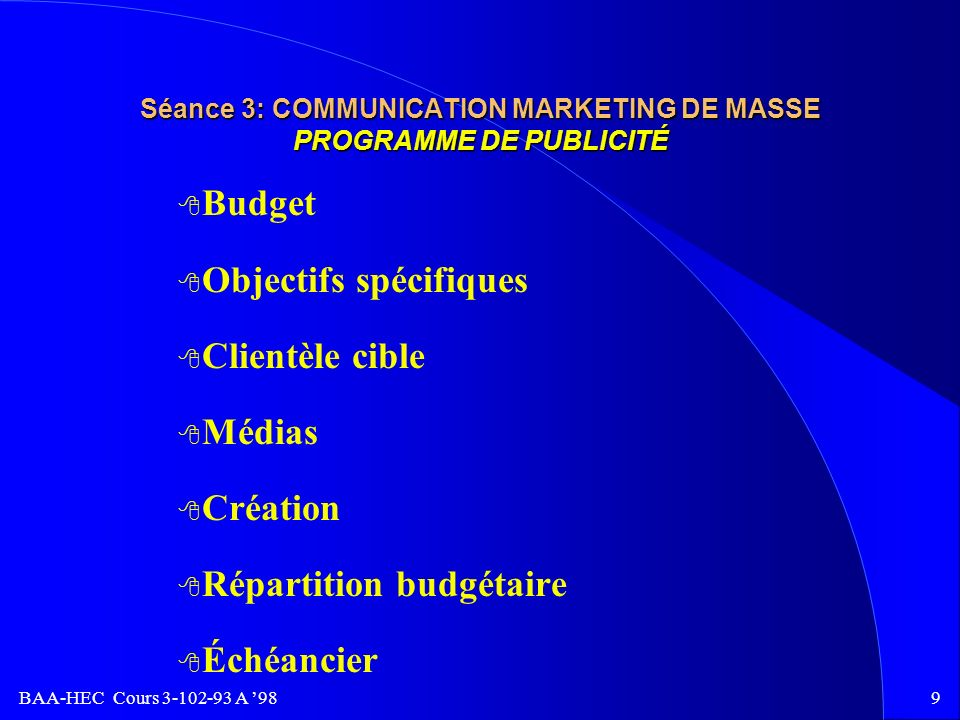 Séance 3: COMMUNICATION MARKETING DE MASSE PROGRAMME DE PUBLICITÉ