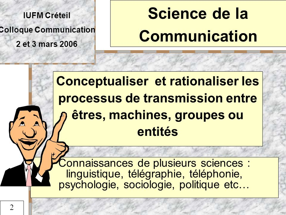 Science de la Communication Colloque Communication