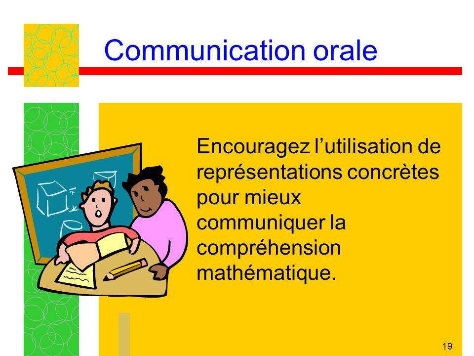 Communication orale Encouragez l'utilisation de représentations concrètes pour mieux communiquer la compréhension mathématique.