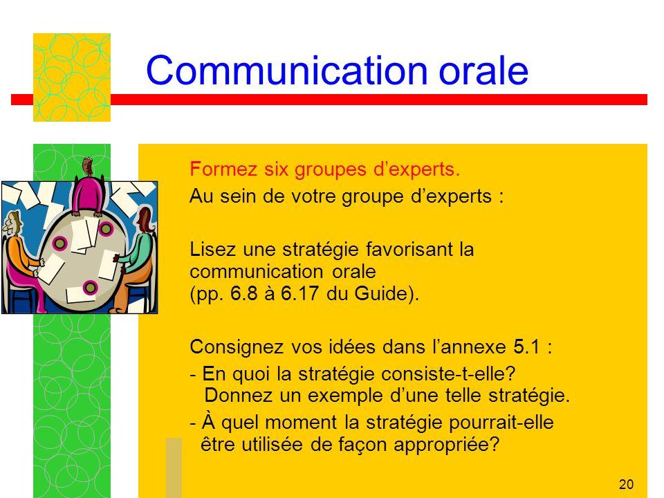 Communication orale Au sein de votre groupe d'experts :