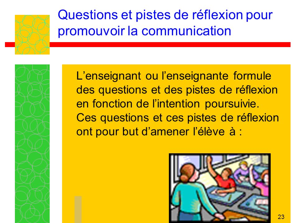 Questions et pistes de réflexion pour promouvoir la communication