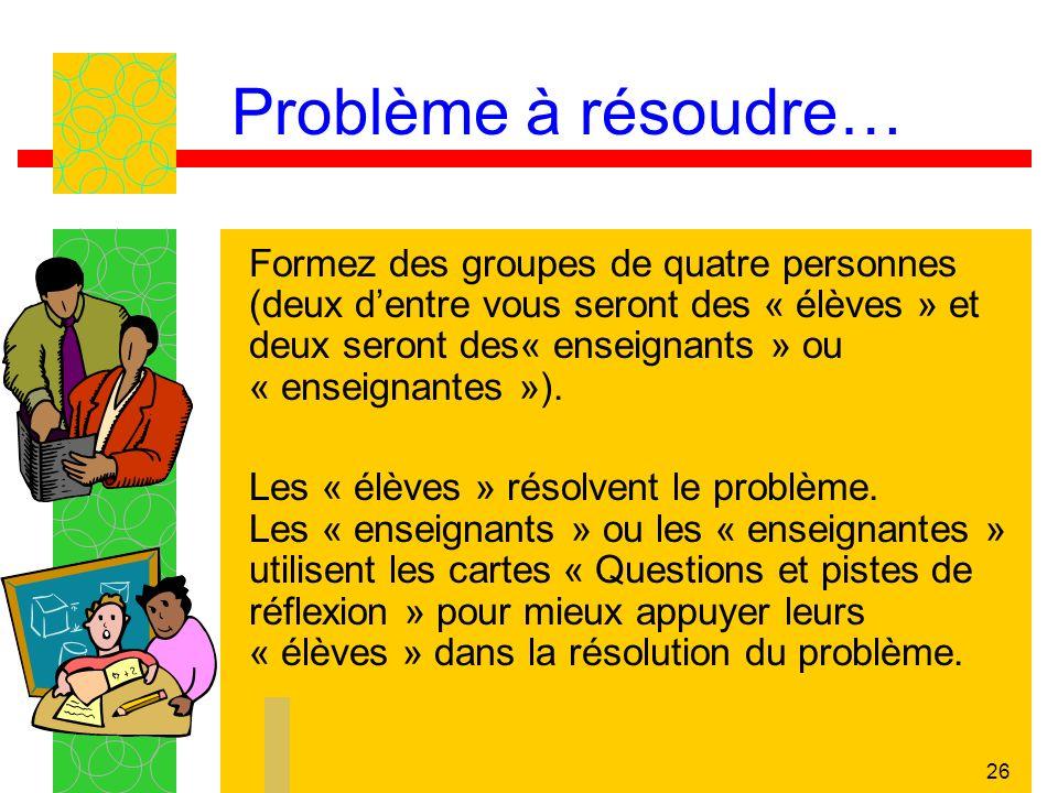 Problème à résoudre…