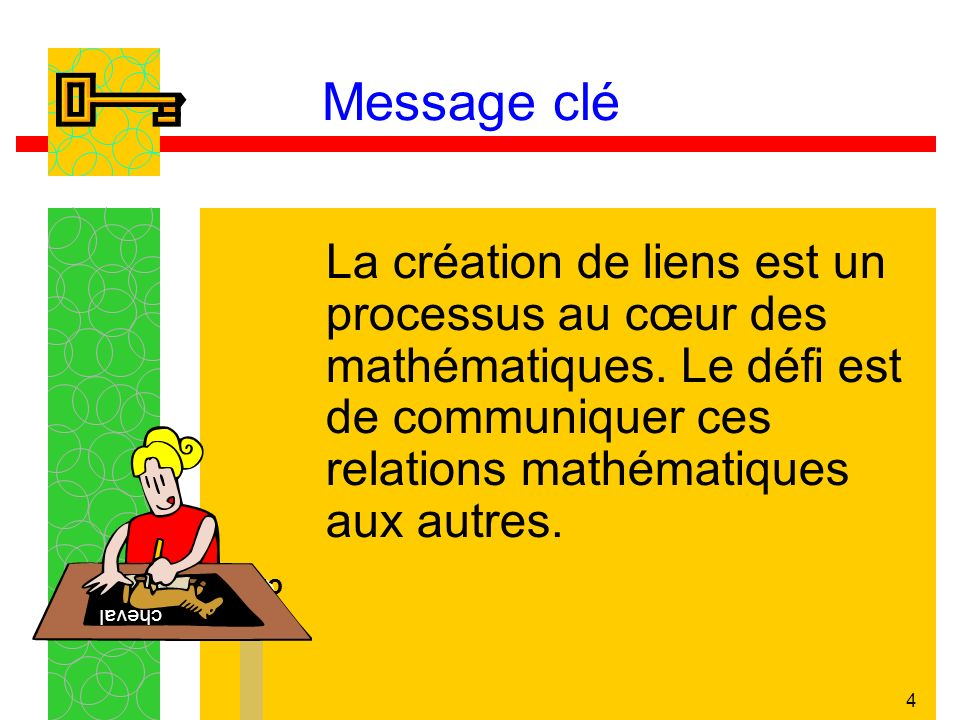 Message clé La création de liens est un processus au cœur des mathématiques. Le défi est de communiquer ces relations mathématiques aux autres.