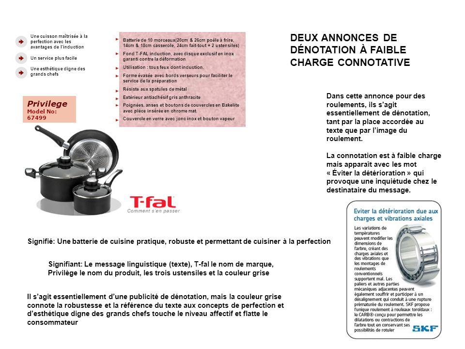 DEUX ANNONCES DE DÉNOTATION À FAIBLE CHARGE CONNOTATIVE