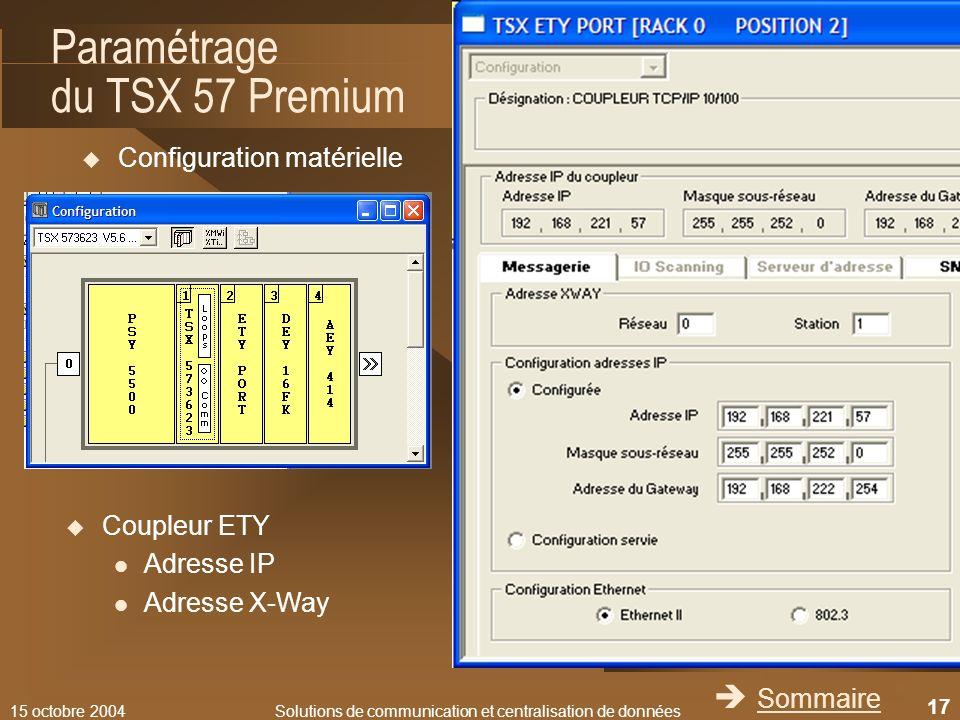 Paramétrage du TSX 57 Premium