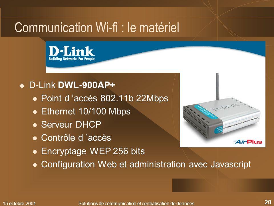 Communication Wi-fi : le matériel