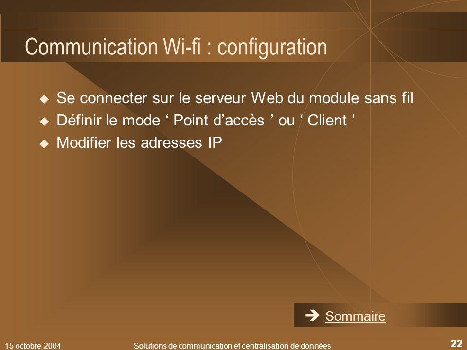 Communication Wi-fi : configuration