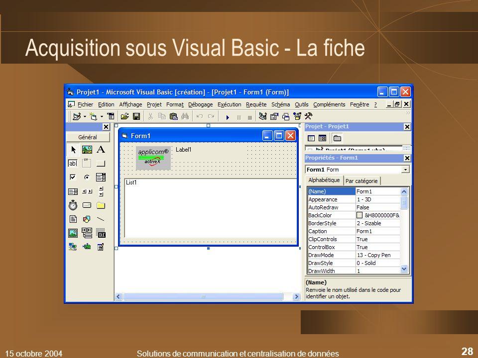 Acquisition sous Visual Basic - La fiche