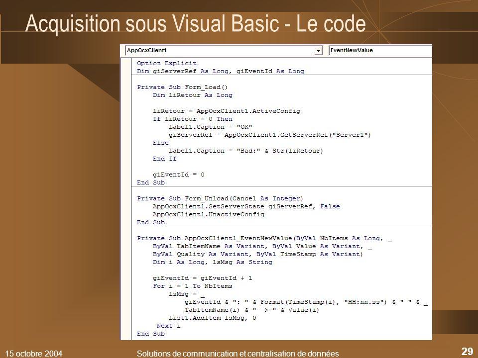 Acquisition sous Visual Basic - Le code