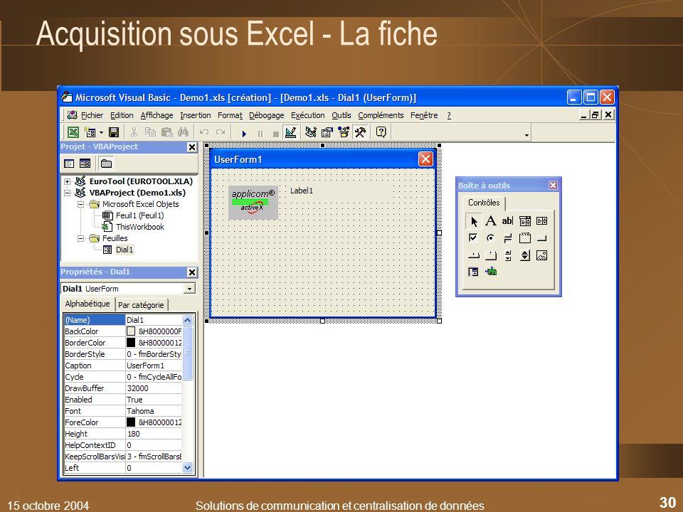 Acquisition sous Excel - La fiche