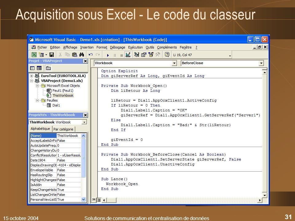 Acquisition sous Excel - Le code du classeur