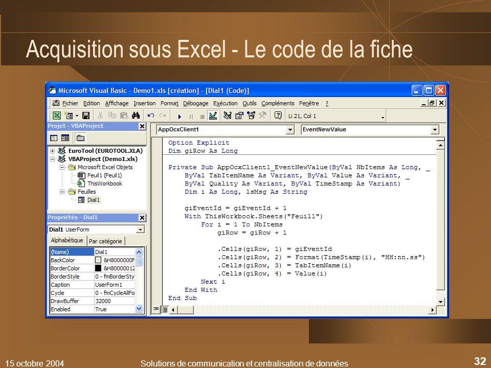 Acquisition sous Excel - Le code de la fiche